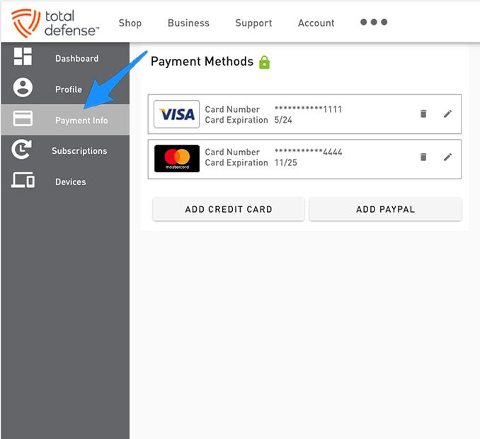 account add cc screen
