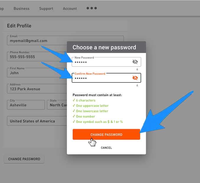 account change password screen