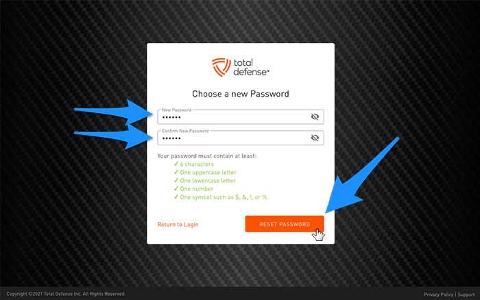 password choose new screen
